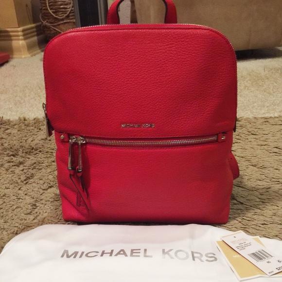 bdc29538011f Michael Kors Bags | Red Rhea Medium Slim Leather Backpack | Poshmark